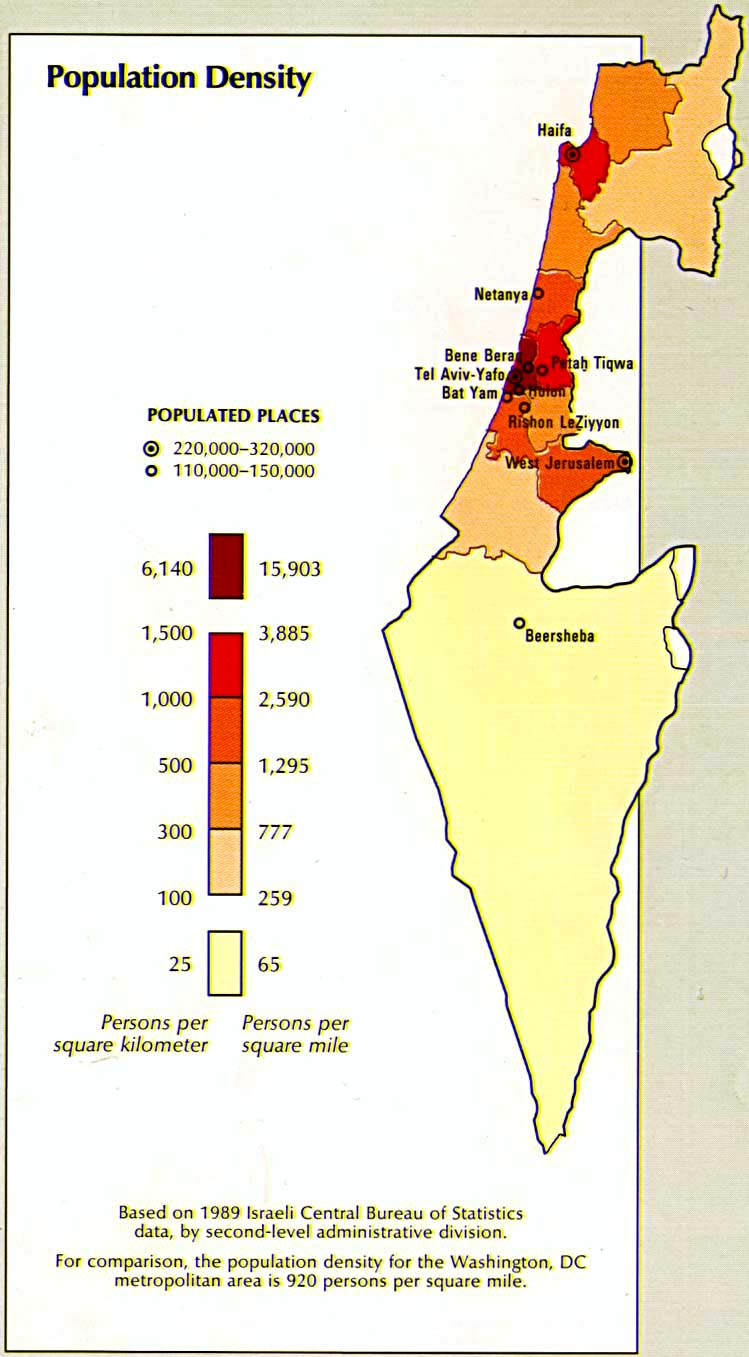 Israel Population Density Map,