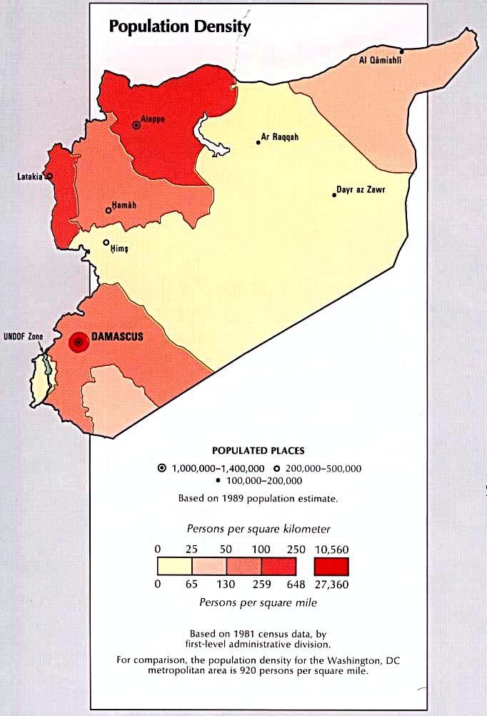Mapa de la Densidad Poblacional de Syria