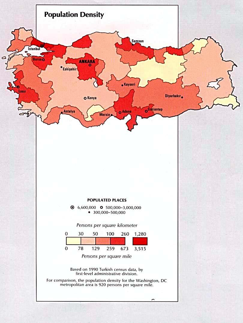 Mapa de la Densidad Poblacional de Turquía