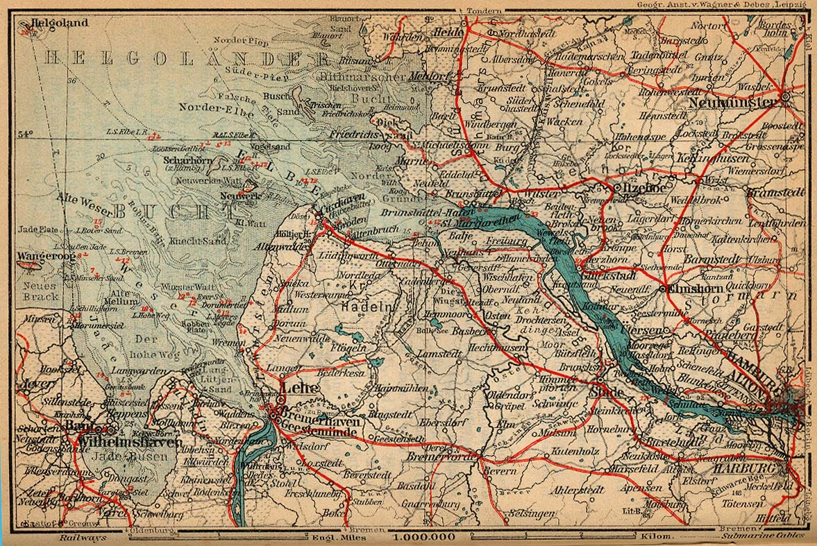 Mouth of Elbe Map, Germany 1910
