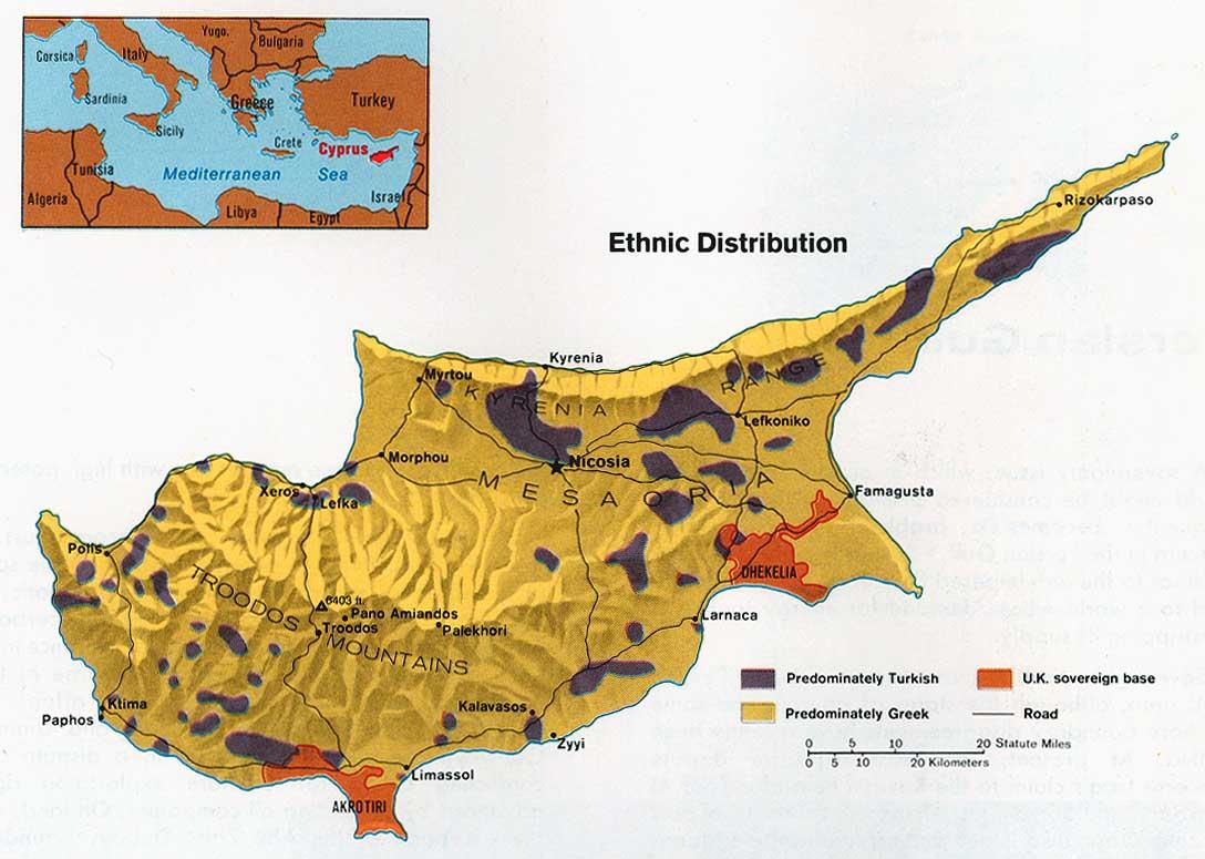 Cyprus Ethnic Distribution Map
