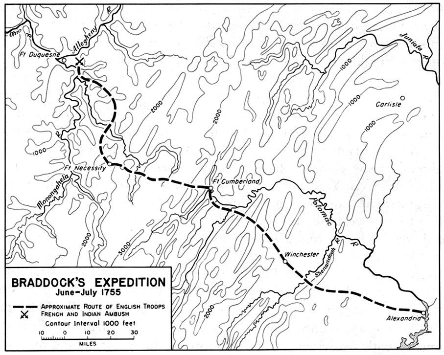 Mapa de la Expedición Braddock, Junio-Julio 1755, Guerra de los Siete Años