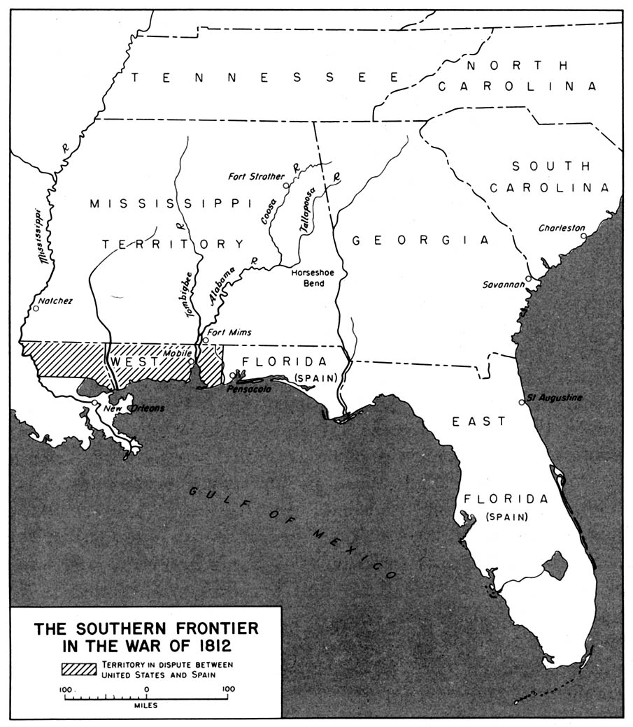 Map of the Southern Frontier in the War of 1812