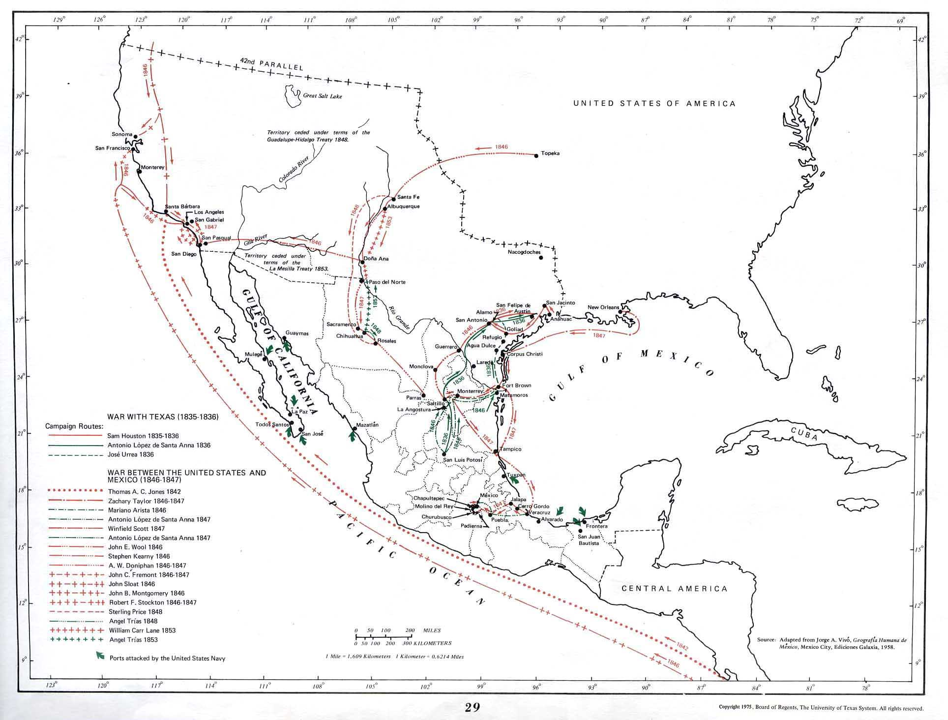 Map of War with Texas, Mexico 1835 - 1836