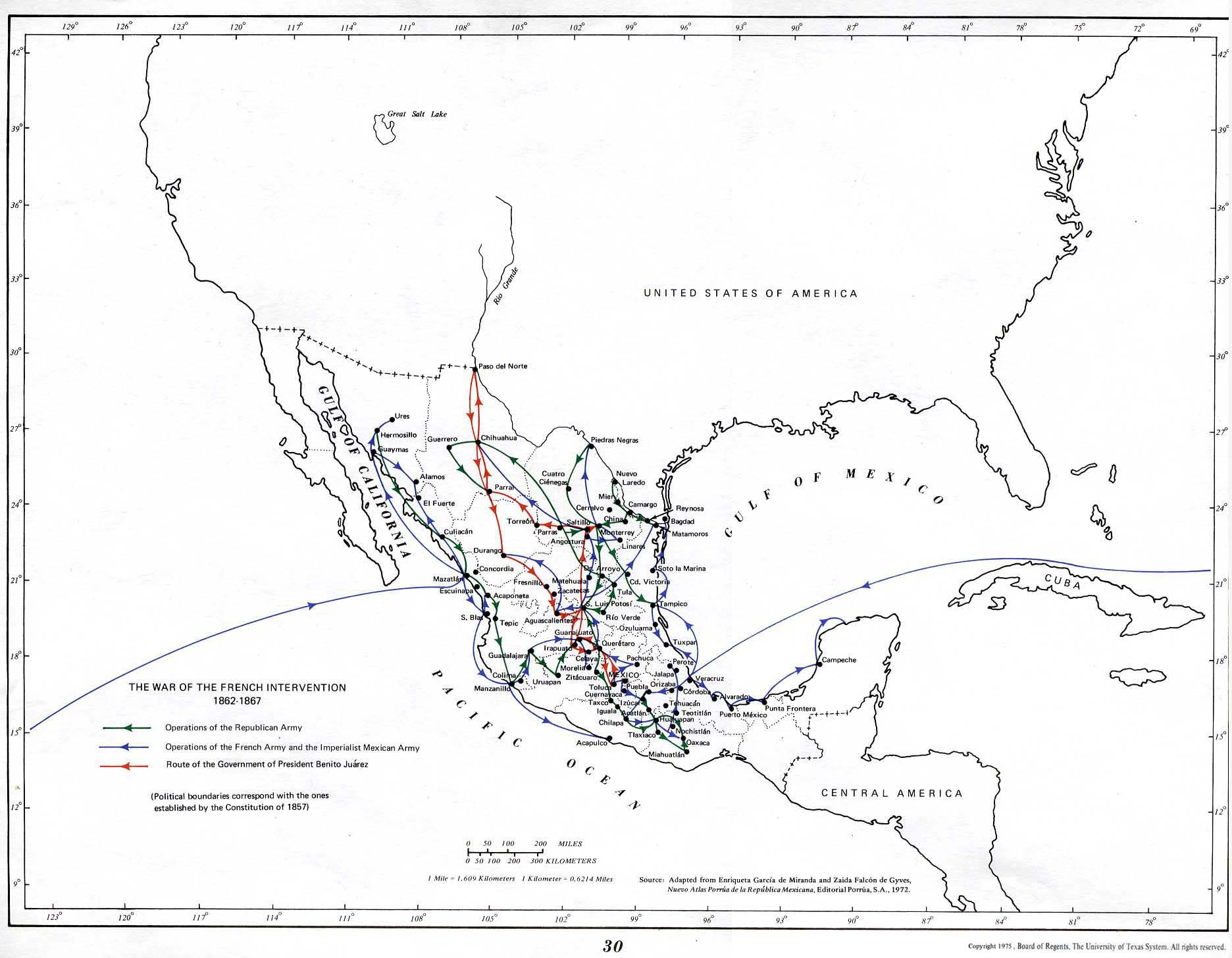 French Intervention War Map, Mexico 1862 - 1867