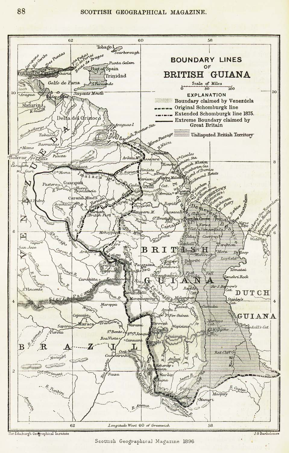 Mapa de la Guyana Británica 1896