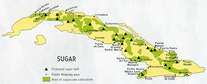 Cuba Sugar Industry Map