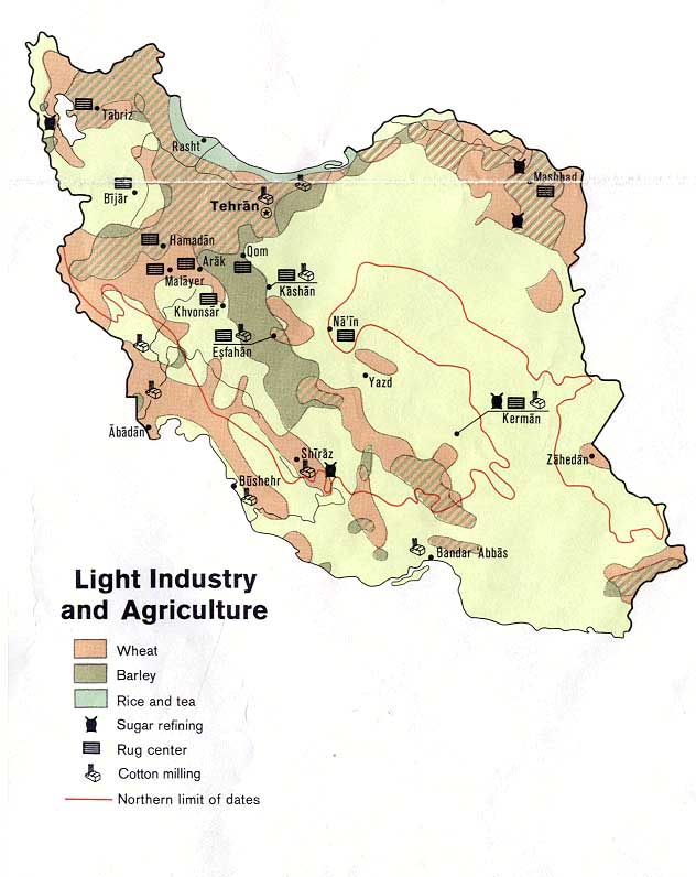 Mapa de la Industria Ligera y de la Agricultura de Irán