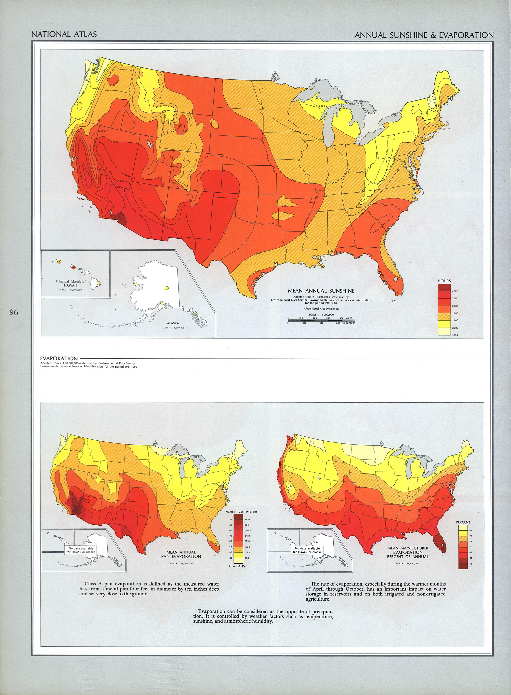 Mapa de la Irradiación Solar y Evaporación (Base Anual) en Estados Unidos