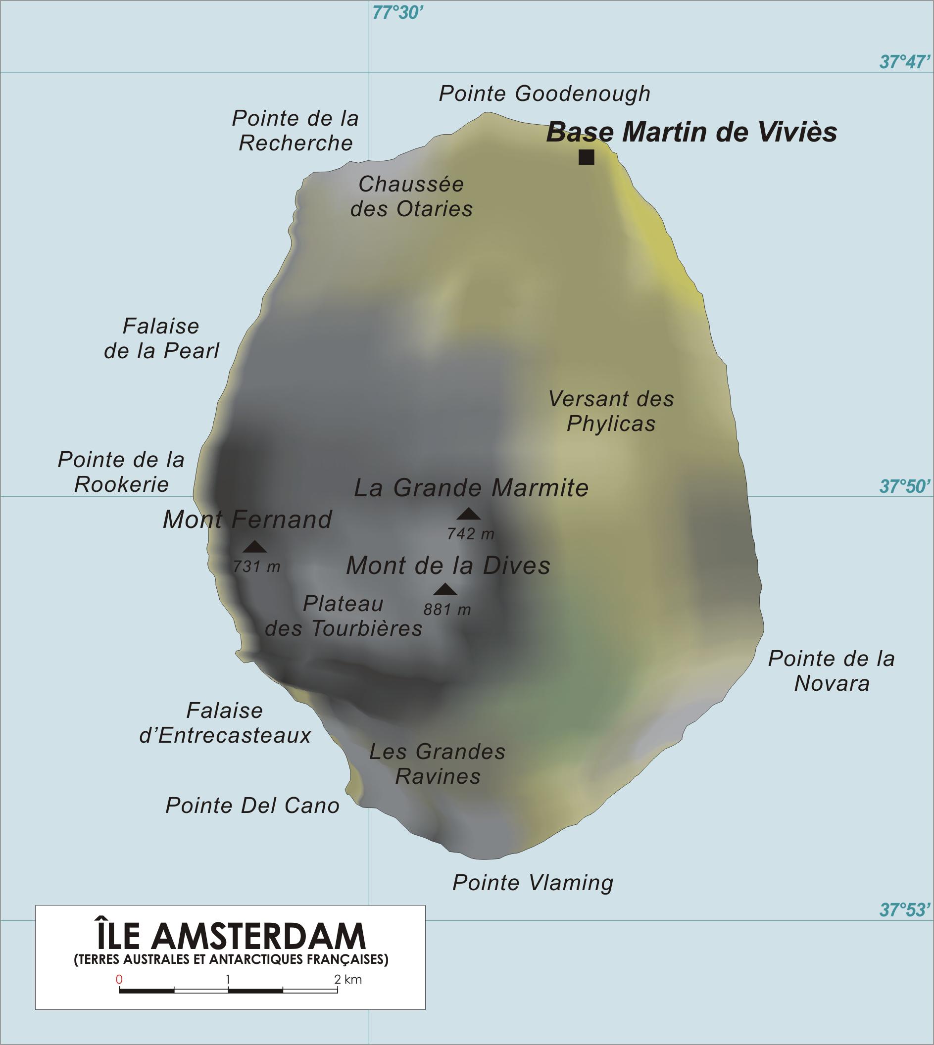 Mapa de la Isla Amsterdam