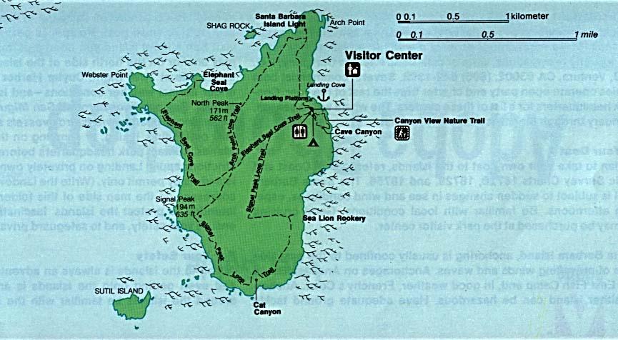 Santa Barbara Island Map, Channel Islands National Park, California, United States