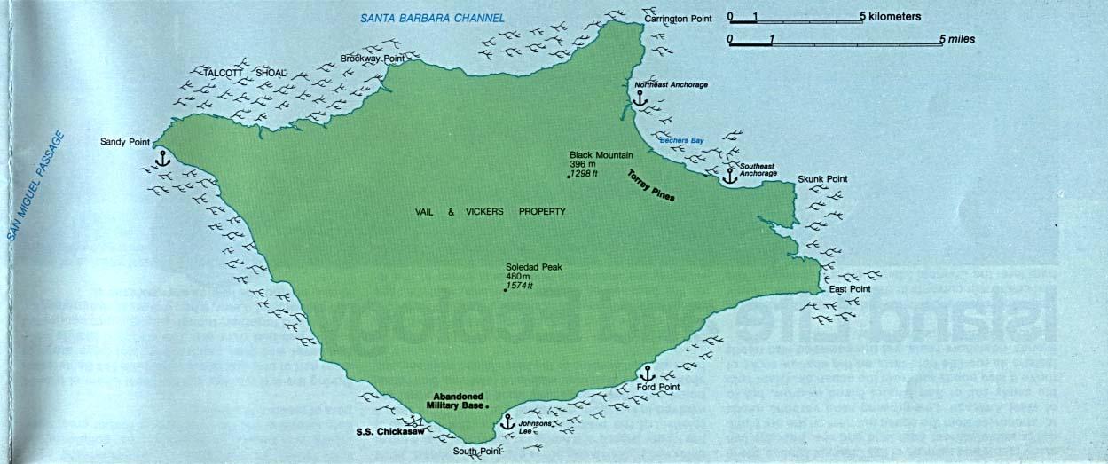Mapa de la Isla Santa Rosa, Parque Nacional Channel Islands, California, Estados Unidos