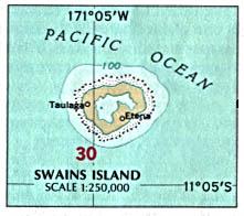 Swains Island Map, American Samoa