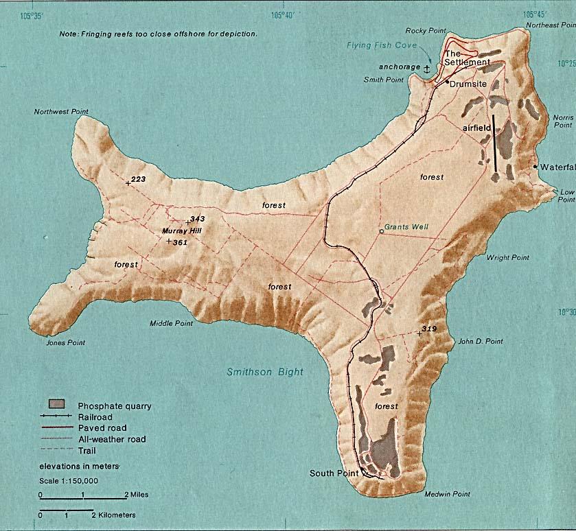 Mapa de la Isla de Navidad, Océano Índico, Australia