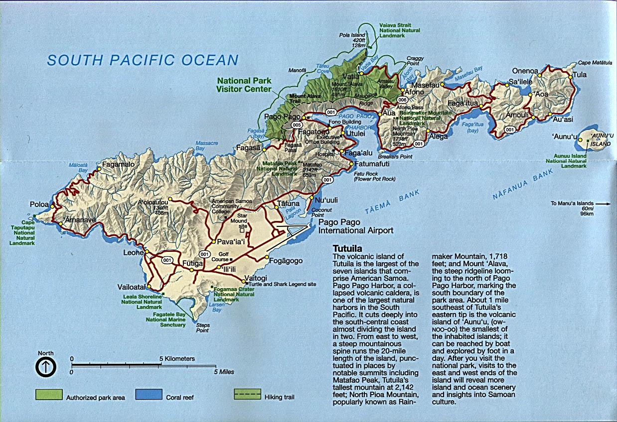 Mapa de la Isla de Tutuila, Samoa Americana