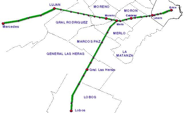 Mapa de la Línea Sarmiento, Area Metropolitana de Buenos Aires, Argentina