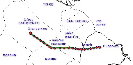 Urquiza Line Map, Metropolitan Area of Buenos Aires, Argentina
