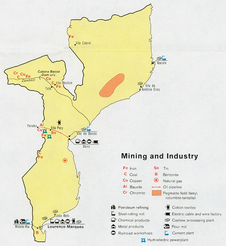 Mozambique Mining and Industry Map