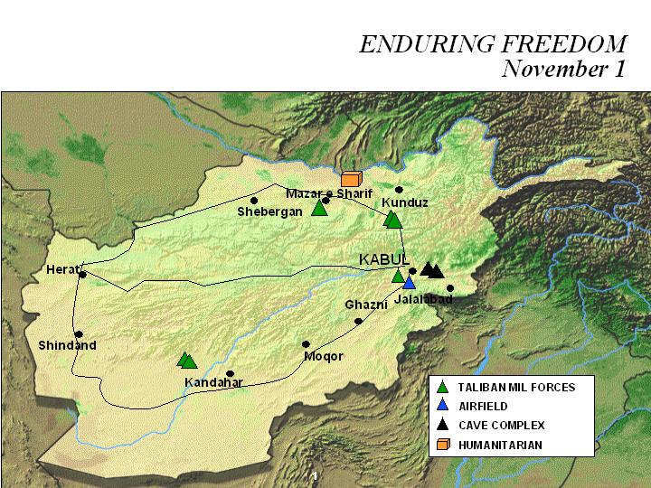 Enduring Freedom Map, Afghanistan 1 November 2001