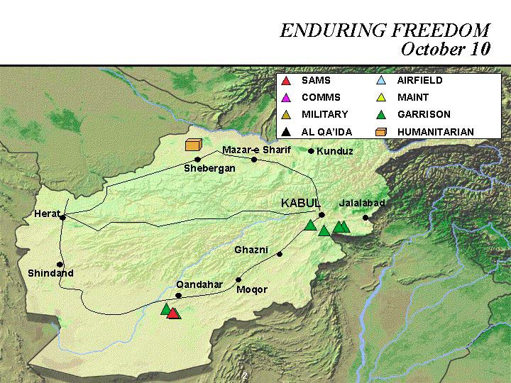 Enduring Freedom Map, Afghanistan 10 October 2001