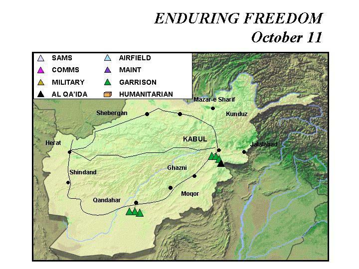 Mapa de la Operación Enduring Freedom, Afganistán 11 Octubre 2001