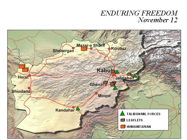 Mapa de la Operación Enduring Freedom, Afganistán 12 Noviembre 2001