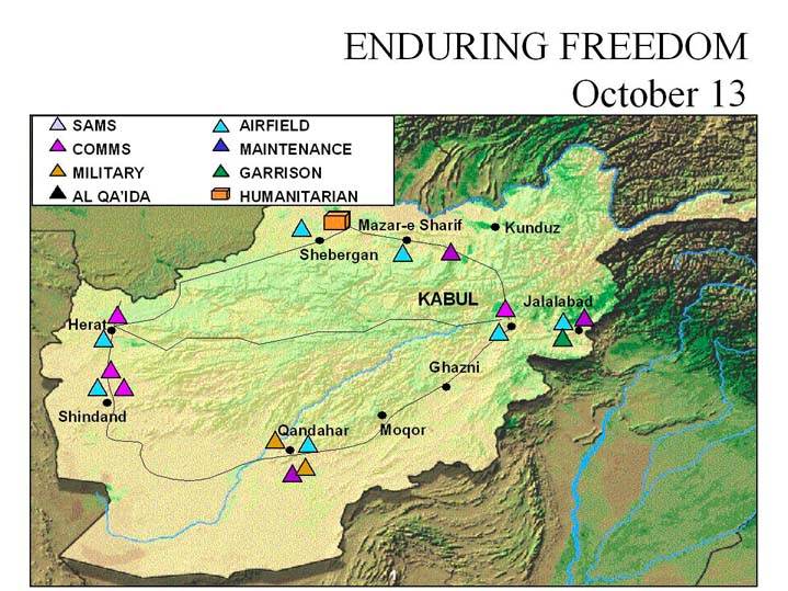 Enduring Freedom Map, Afghanistan 13 October 2001