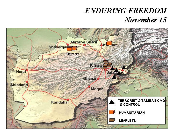 Mapa de la Operación Enduring Freedom, Afganistán 15 Noviembre 2001