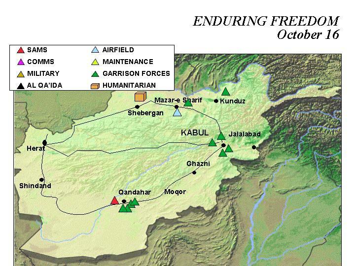 Mapa de la Operación Enduring Freedom, Afganistán 16 Octubre 2001