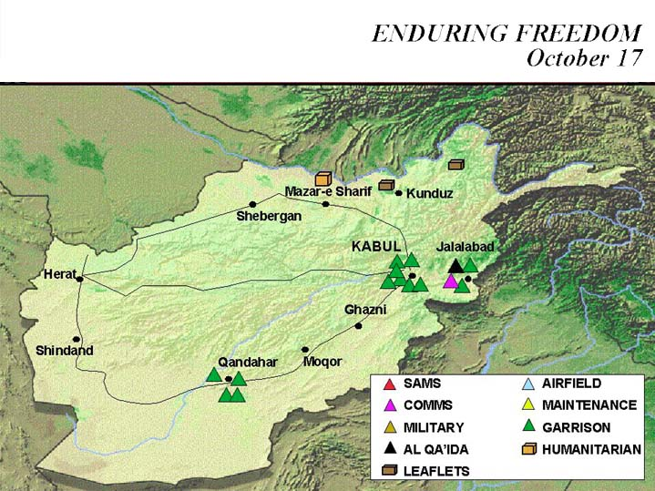 Enduring Freedom Map, Afghanistan 17 October 2001
