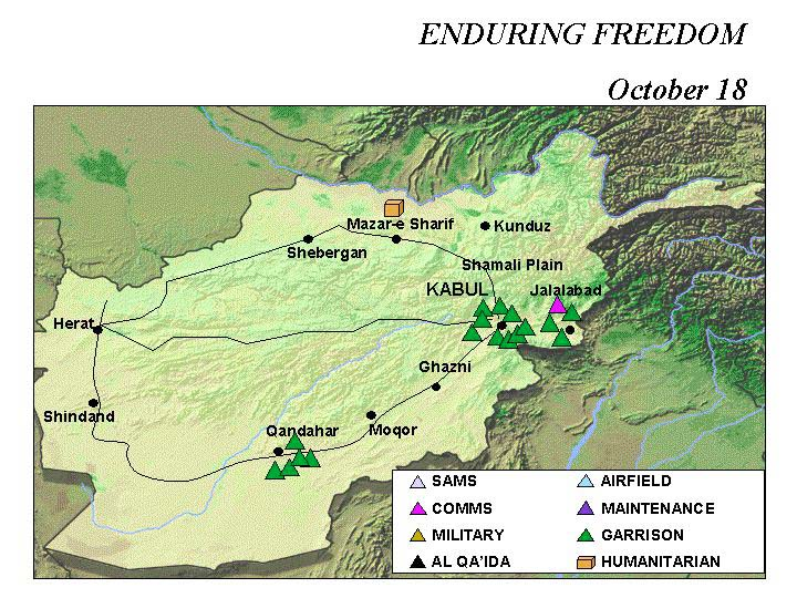 Enduring Freedom Map, Afghanistan 18 October 2001