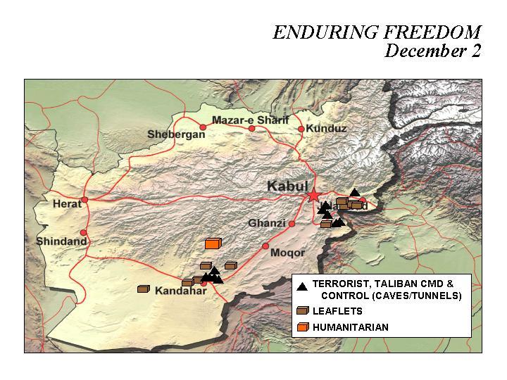 Mapa de la Operación Enduring Freedom, Afganistán 2 Diciembre 2001
