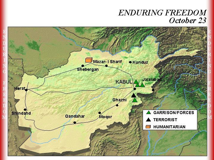 Mapa de la Operación Enduring Freedom, Afganistán 23 Octubre 2001