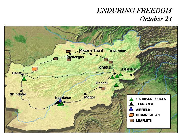 Mapa de la Operación Enduring Freedom, Afganistán 24 Octubre 2001