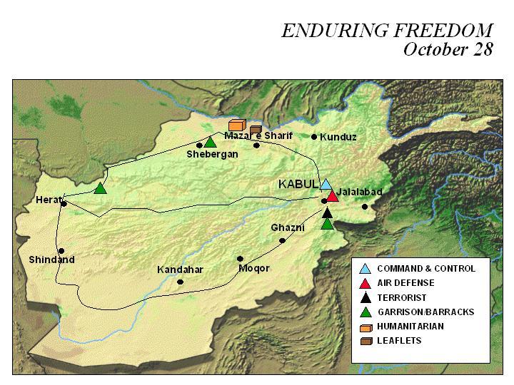 Mapa de la Operación Enduring Freedom, Afganistán 28 Octubre 2001