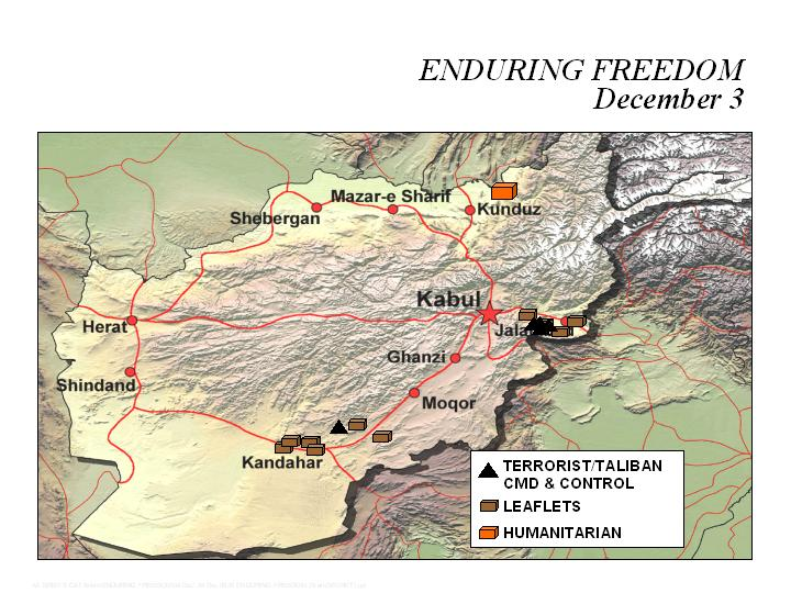 Enduring Freedom Map, Afghanistan 3 December 2001