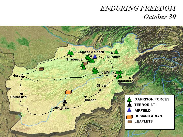 Enduring Freedom Map, Afghanistan 30 October 2001
