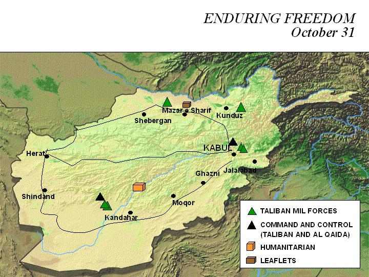 Enduring Freedom Map, Afghanistan 31 October 2001