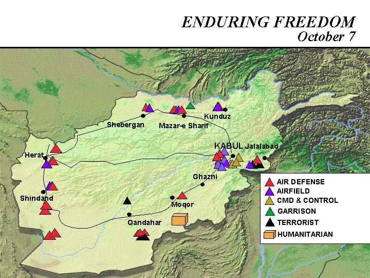 Mapa de la Operación Enduring Freedom, Afganistán 7 Octubre 2001