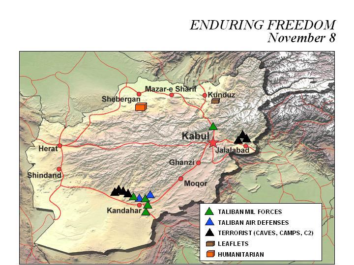 Enduring Freedom Map, Afghanistan 8 November 2001