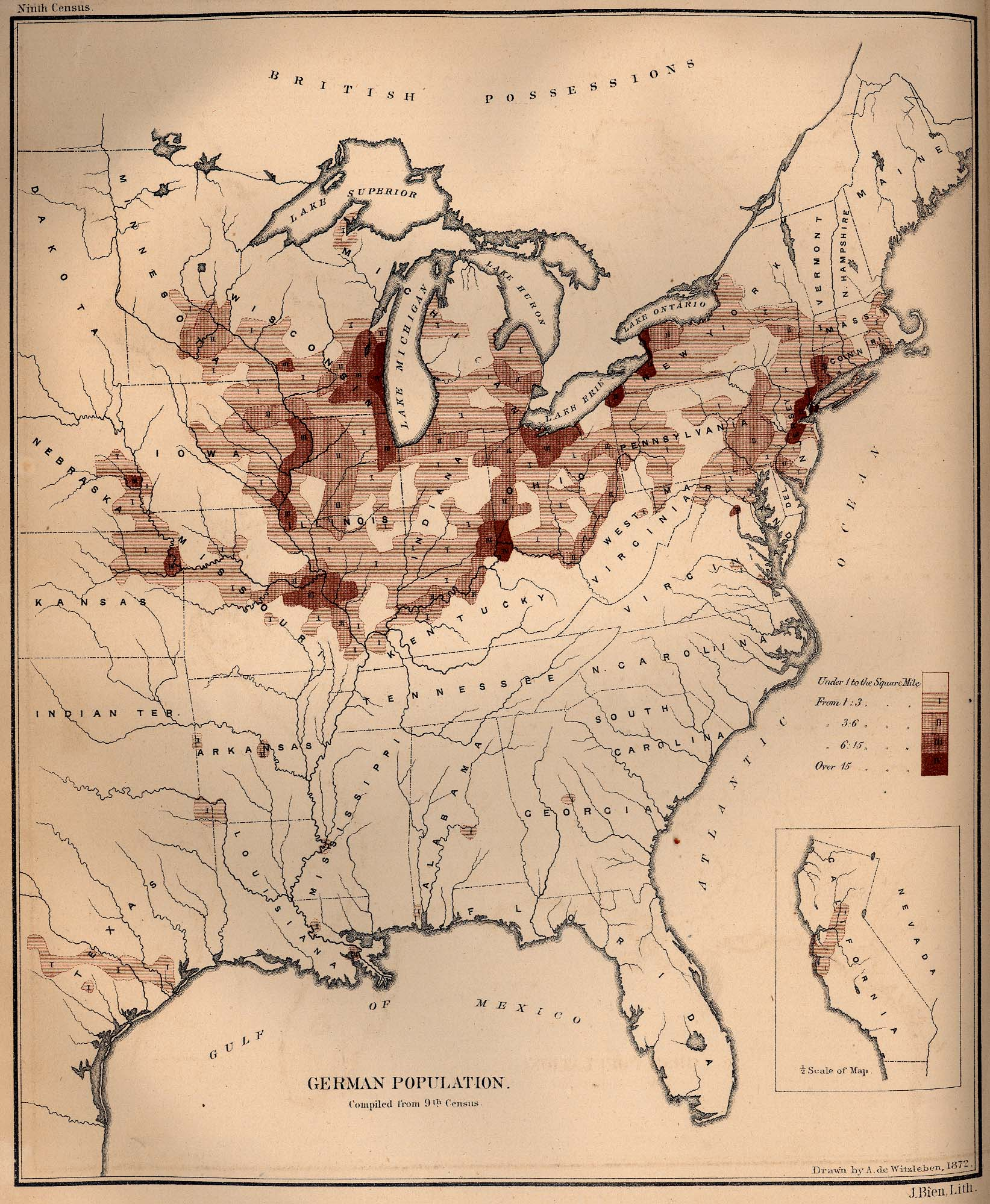 Map of the German Population in the United States 1872