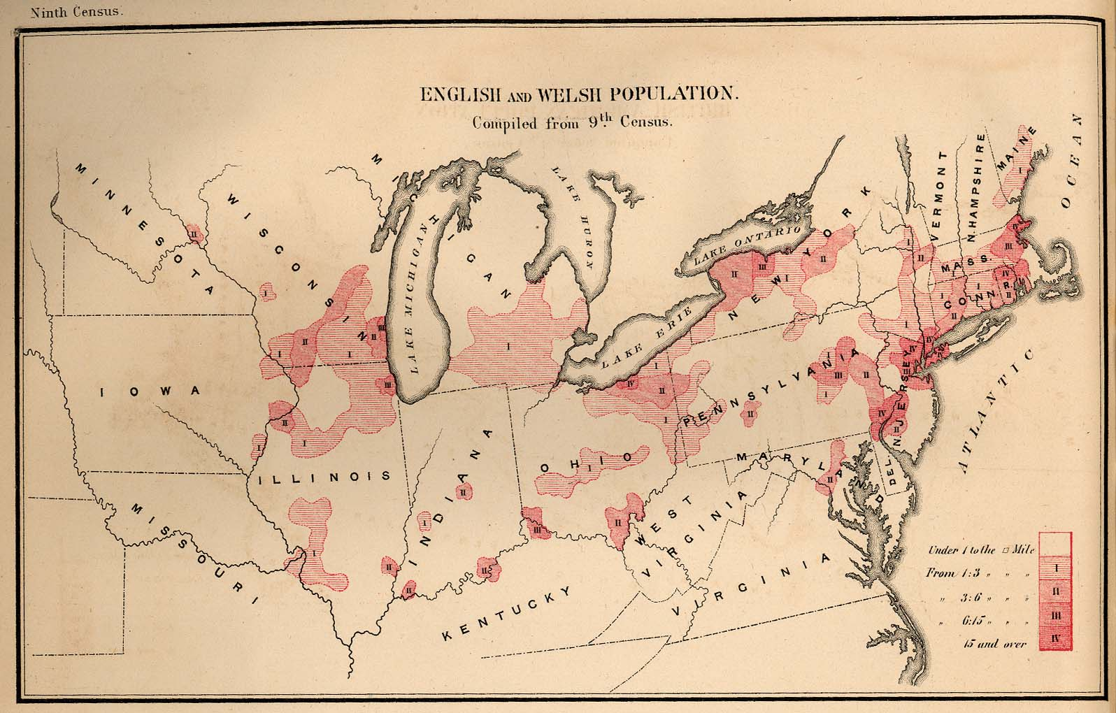 Map of the English and Welsh Population in the United States 1872