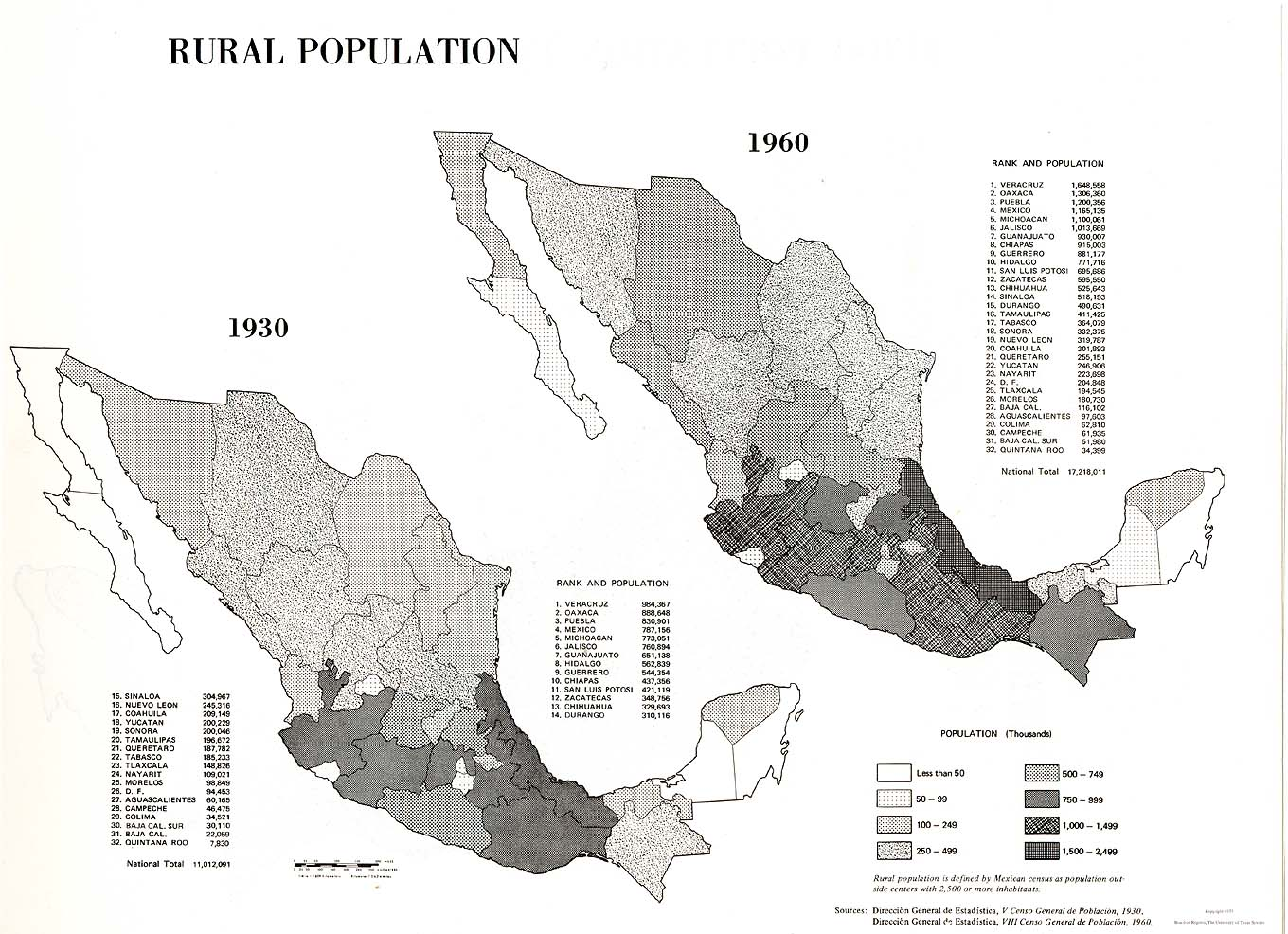 Map of Rural Population, Mexico 1930, 1960