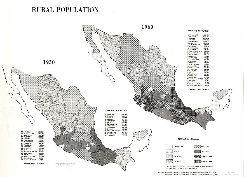 Mapa de la Población Rural, México 1930, 1960