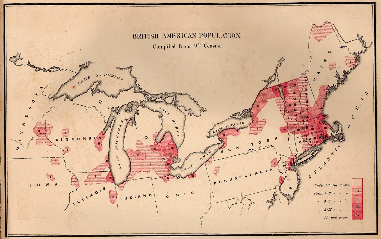 Mapa de la Población de Origen Británica en Estados Unidos 1872