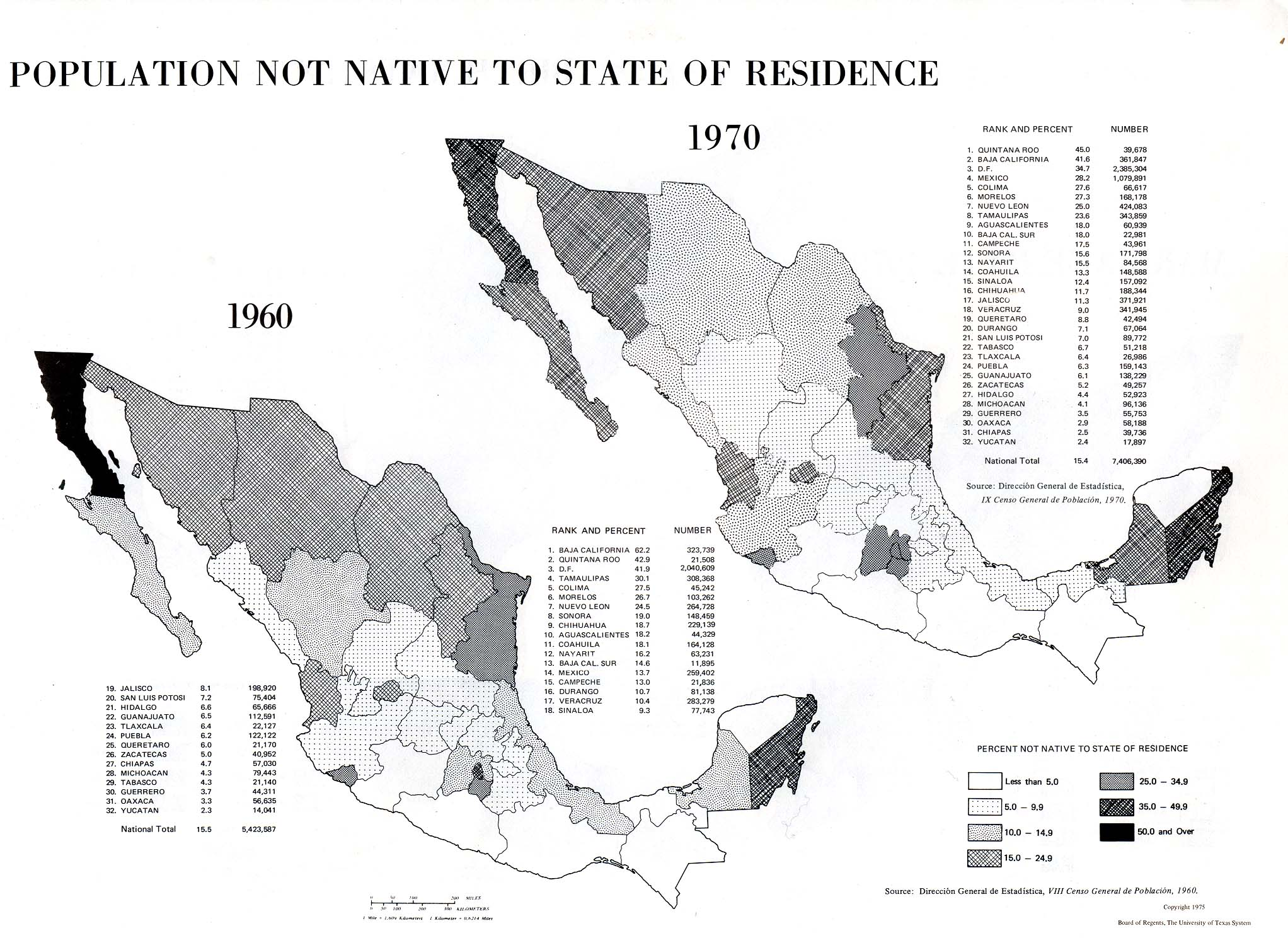 Map of Population Not Native to State of Residence, Mexico