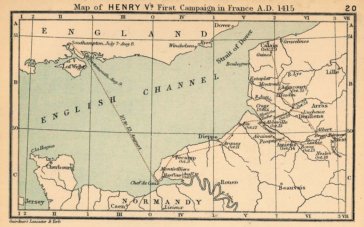 Map of Henry V's First Campaign in France, 1415