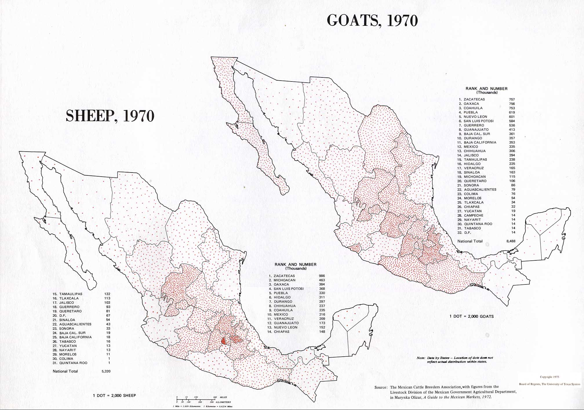 Map of Sheep and Goats Production, Mexico