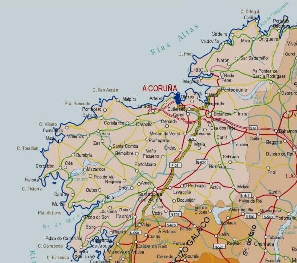 Mapa de la Provincia A Coruña, España