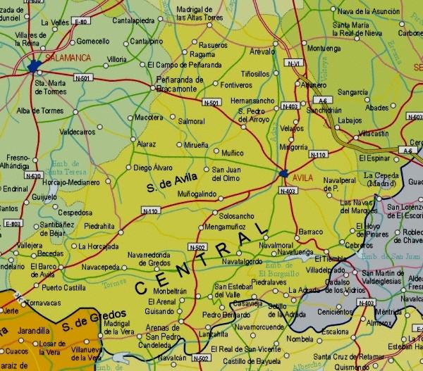 Map of Avila Provincia, Spain
